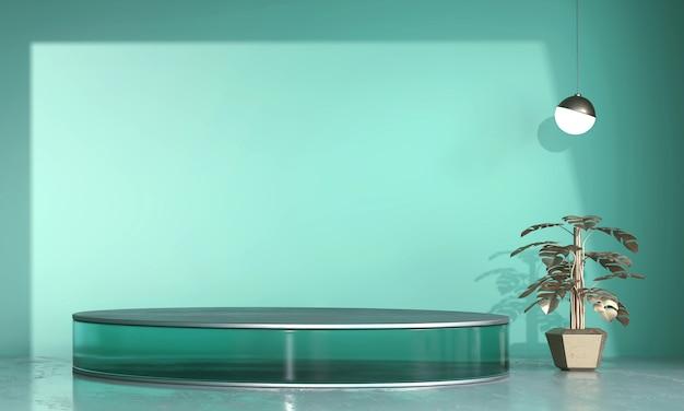 Abstrakte transparente grüne bühnenplattform, vorlage für werbeanzeigeprodukt, 3d-rendering.