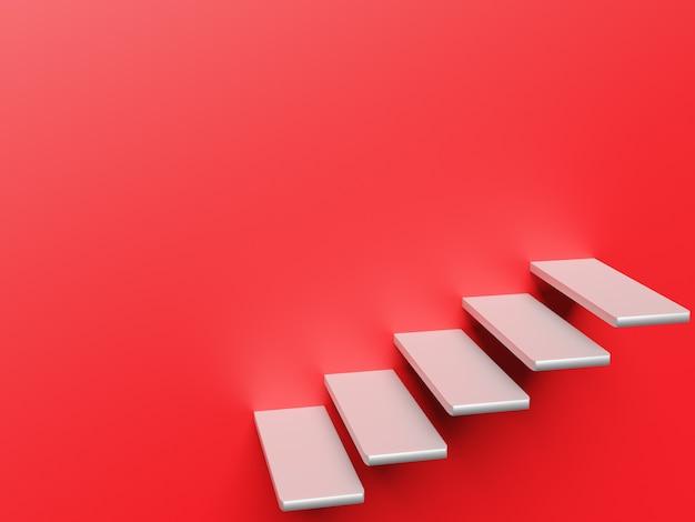 Abstrakte treppe treppen mit schritten auf rotem hintergrundgeschäftskonzept