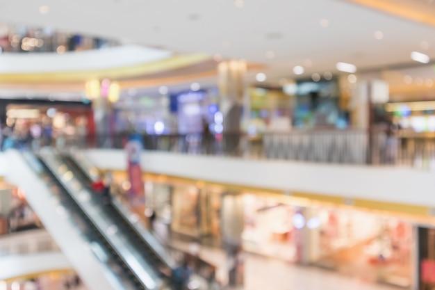 Abstrakte unschärfe des modernen einkaufszentrums defokussierten hintergrund