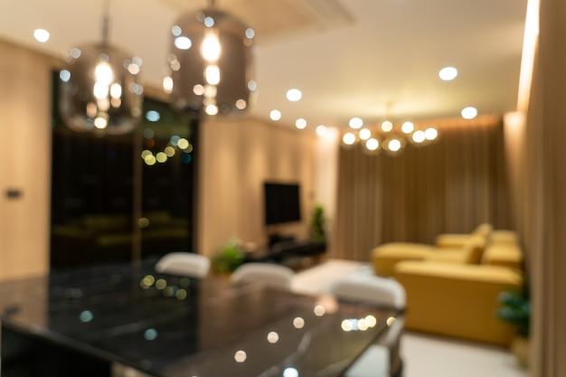 Abstrakte unschärfe modernes und luxuriöses wohnzimmer für den hintergrund