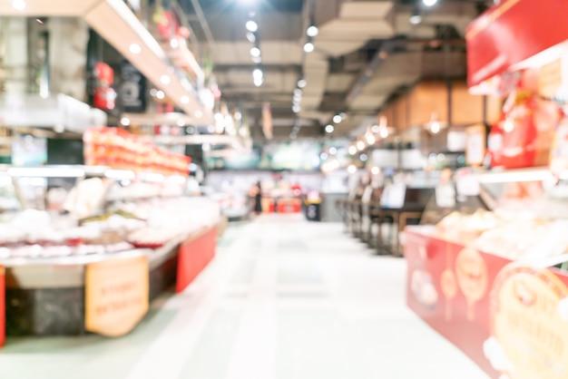 Abstrakte unschärfe und defokussierter supermarkt für oberfläche