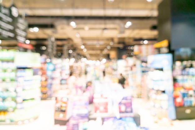 Abstrakte unschärfe und defokussierter supermarkt für