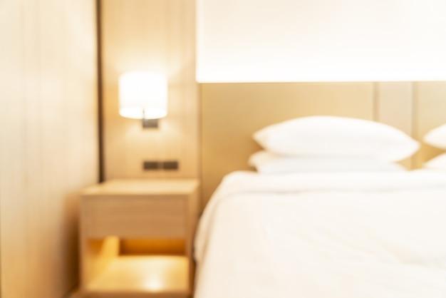 Abstrakte unschärfe und defokussiertes hotelresortschlafzimmer für hintergrund