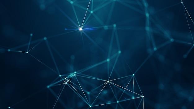 Abstrakte verbundene punkte und linien auf blauem hintergrund. kommunikations- und technologienetzwerkkonzept mit beweglichen linien und punkten.
