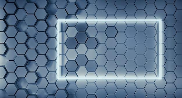 Abstrakte wabenstruktur mit neonrahmen