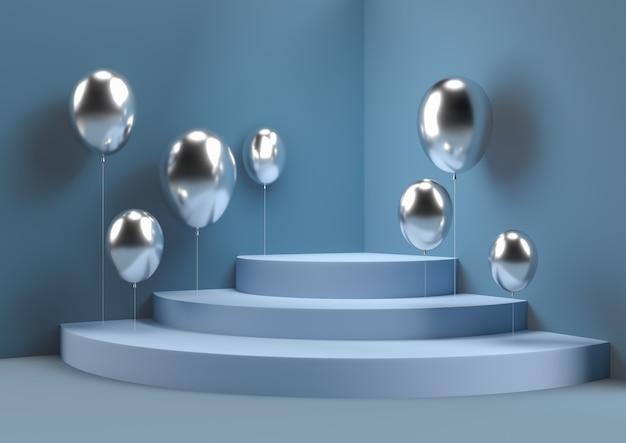 Abstrakte wandecke mit der ballonszene 3d, die minimales kreispodium überträgt