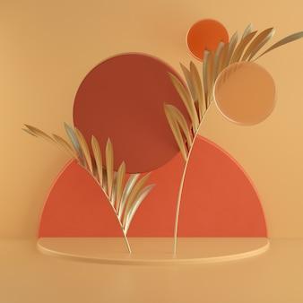 Abstrakte warme pastell-3d-rendering-szene, matte glaskreise und zylinderpodiumhintergrund. quadratische bannervorlage mit platz für text. goldenes palmblatt. vitrine, ladenfront, vitrine.