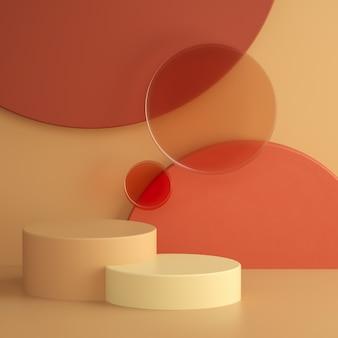 Abstrakte warme pastell-3d-rendering-szene, matte glaskreise und zylinderpodiumhintergrund. quadratische bannervorlage mit platz für text. trendige surreale komposition. vitrine, ladenfront, vitrine.