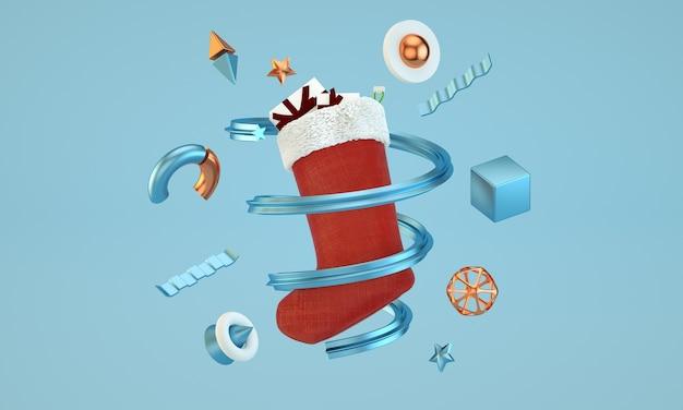 Abstrakte weihnachtsillustration mit santa sock und geometrischer grundelementzusammensetzung
