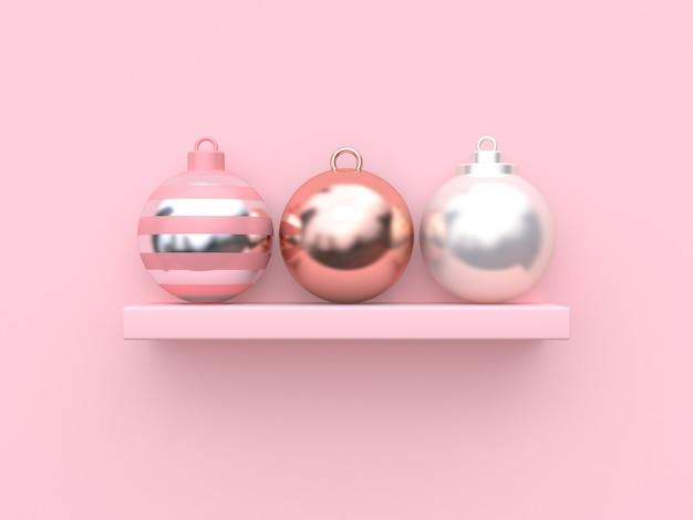 Abstrakte weihnachtskugeln auf rosa hintergrund