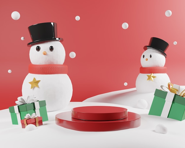 Abstrakte weihnachtsszene mit rotem podium und schneemann.