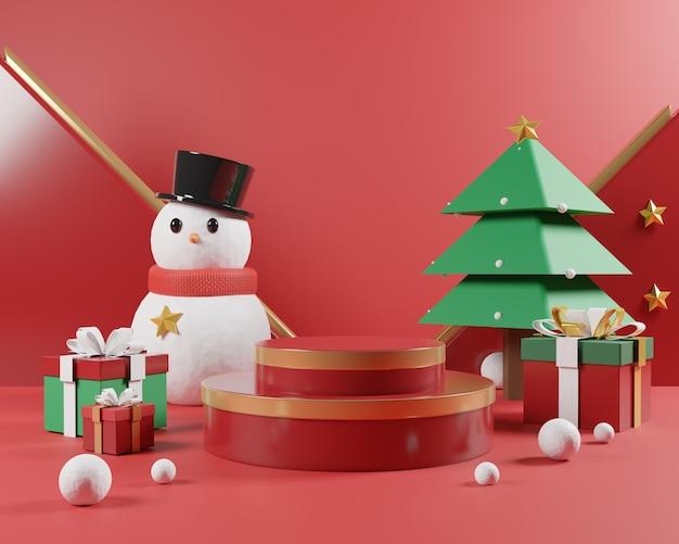 Abstrakte weihnachtsszene mit rotem podium und weihnachtsobjekten.