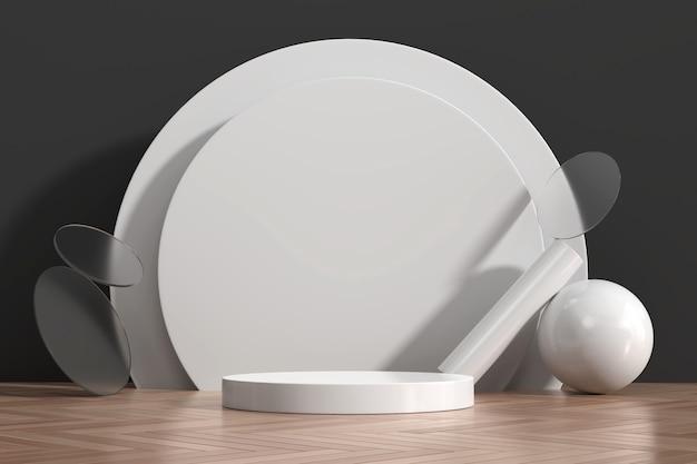 Abstrakte weiße podiumshow für produktanzeige mit geometrieformdekoration 3d rendern