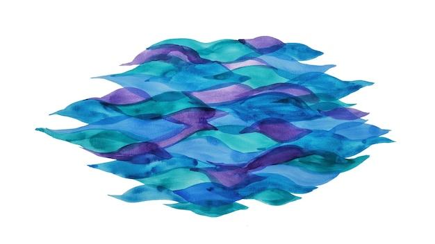 Abstrakte wellen aquarell ozeanlandschaft. natur meer grenze ornament. pinselstriche blaue seelandschaft. tapete handgezeichnete wasseroberfläche nasse textur illustration.