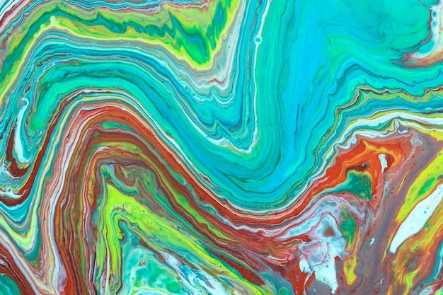 Abstrakte wellen des flüssigen acryls gießen malerei