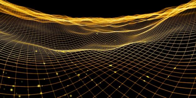 Abstrakte wellengitter neonfarbe mesh lichteffekt 3d-darstellung