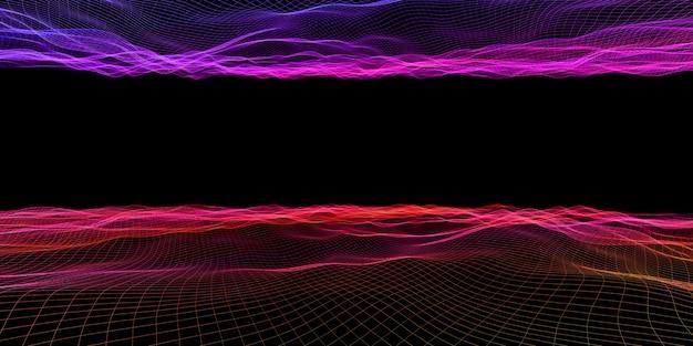 Abstrakte wellengitter-neonfarbenetz-lichteffekt-3d-illustration