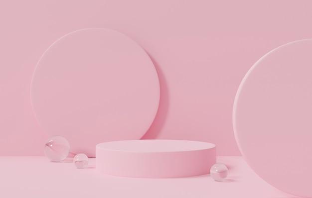 Abstrakte wiedergabe 3d für produktanzeigeschablone auf rosafarbenem pastellhintergrund.