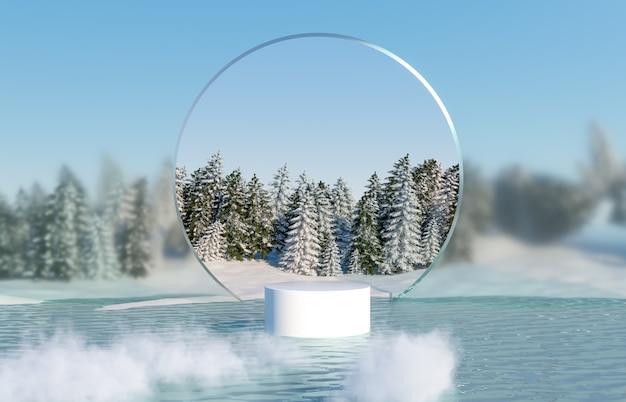 Abstrakte winterlandschaftsszene mit produktstand