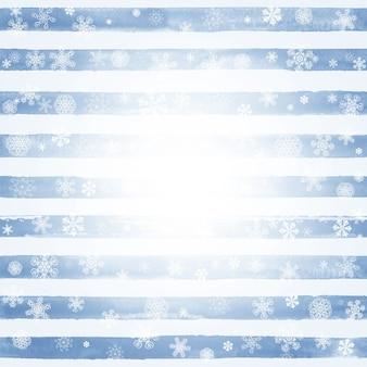 Abstrakte wintermode gestreiften aquarell blau-weißen hintergrund mit weißen schneeflocken und platz für text. konzept frohes neues jahr und frohe weihnachten.