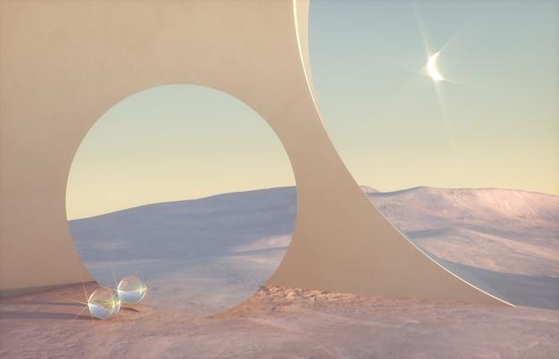 Abstrakte winterszene mit geometrischen formen im natürlichen licht.