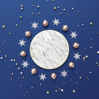 Abstrakte zusammensetzung 3d mit geometrischer form für produktanzeige. winter weihnachten hintergrund.
