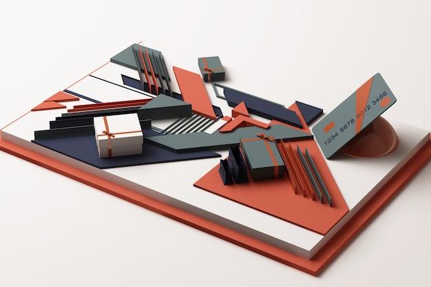 Abstrakte zusammensetzung der kreditkarte mit geschenkboxkonzept der geometrischen formenplattformen im orange und blauen ton. 3d-rendering Premium Fotos