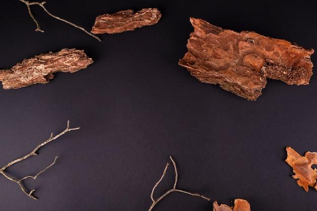Abstrakte zusammensetzung mit rindenbaumpodien für produktpräsentation