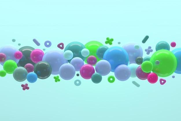 Abstrakte zusammensetzung mit vielen glatten nach dem zufall farbigen glänzenden bereichbällen, die in raum fliegen.