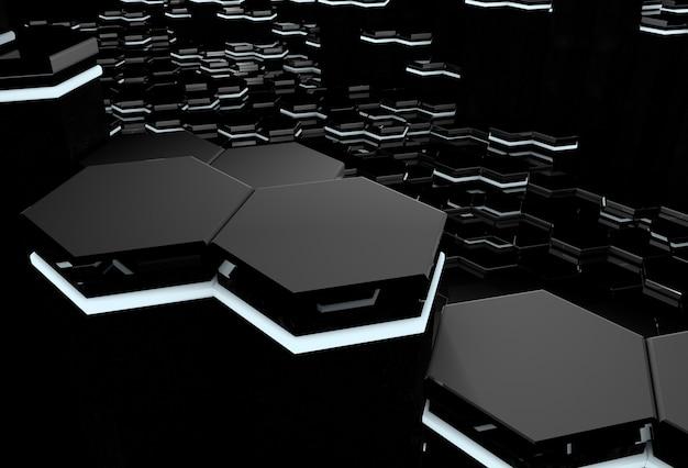 Abstrakter 3d-hintergrund der futuristischen oberfläche mit leuchtenden schwarzen sechsecken