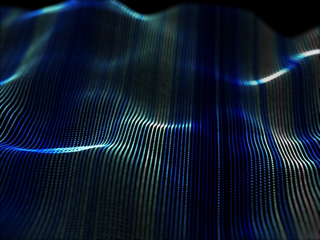 Abstrakter 3d-hintergrund mit fließenden partikeln