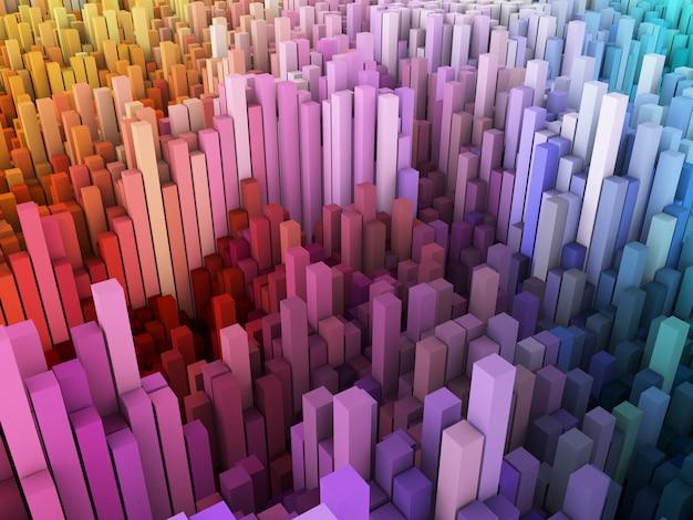 Abstrakter 3d-hintergrund mit landschaft von blöcken