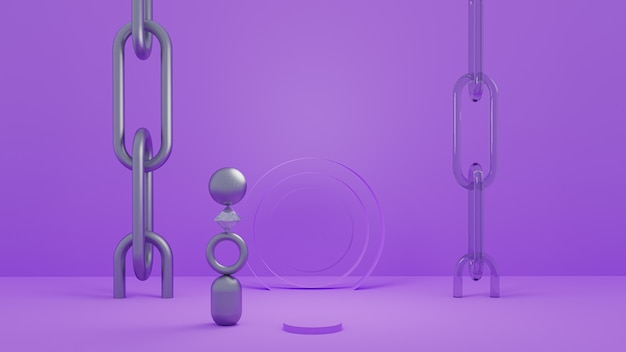 Abstrakter 3d-hintergrund mit materiellen objekten