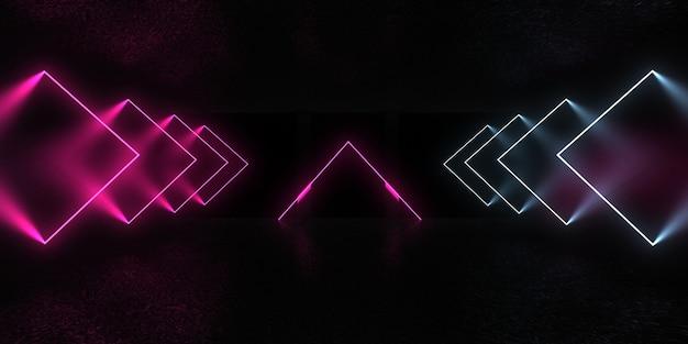 Abstrakter 3d-hintergrund mit neonlichtern