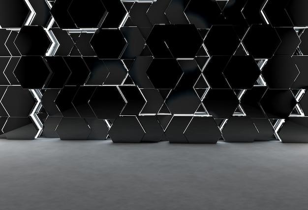 Abstrakter 3d-hintergrund mit sechseckiger glänzender wand und betonboden