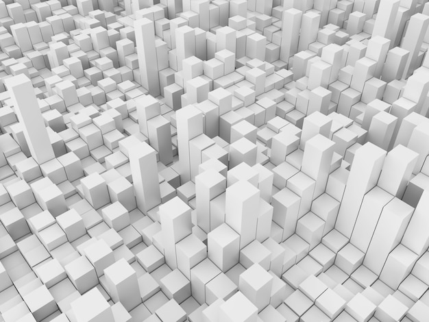 Abstrakter 3d-hintergrund mit weißen extrudierenden würfeln