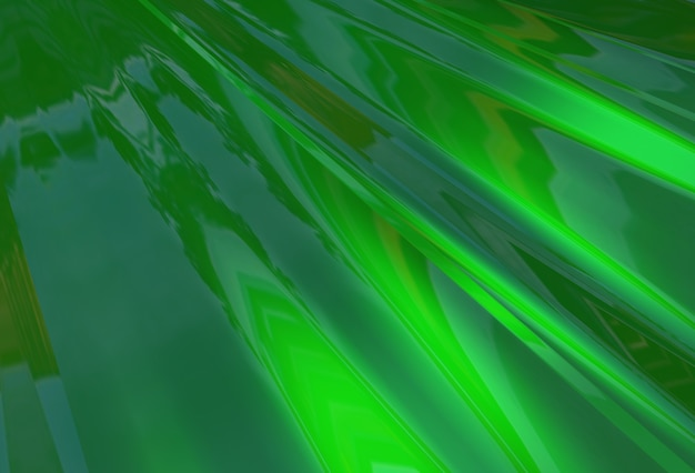 Abstrakter 3d-hintergrund von grünen glänzenden schwimmenden wellen
