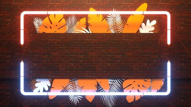 Abstrakter 3d-render des tropischen blattes mit neonlichtlampe