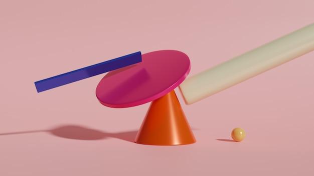 Abstrakter 3d-render, moderner geometrischer hintergrund, grafikdesign