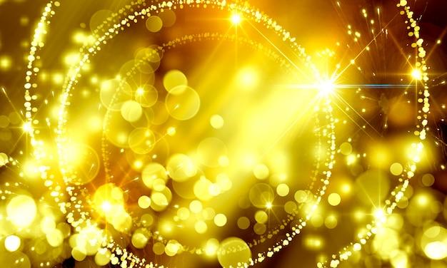 Abstrakter abstrakter weihnachtsfeiertagshintergrund mit glitter von goldenen bokeh-kreisen