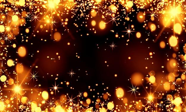 Abstrakter abstrakter weihnachtshintergrund mit goldenen bokeh-lichtern auf schwarzem