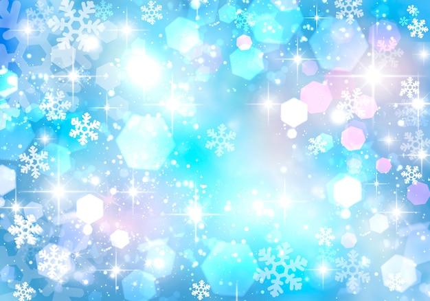 Abstrakter abstrakter weihnachtswinterhintergrund mit schneeflocken und bokeh-kreisen