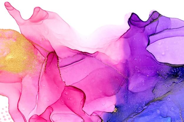 Abstrakter aquarell rosa und violetter steigungshintergrund mit punkten und glitzer