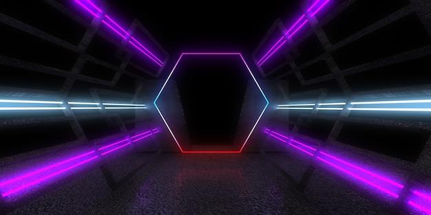Abstrakter architektonischer 3d-hintergrund mit neonlichtern
