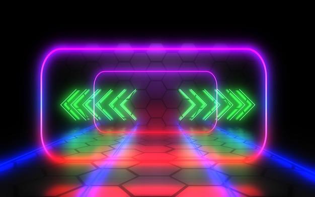Abstrakter architekturtunnel mit neonlicht. 3d-illustration