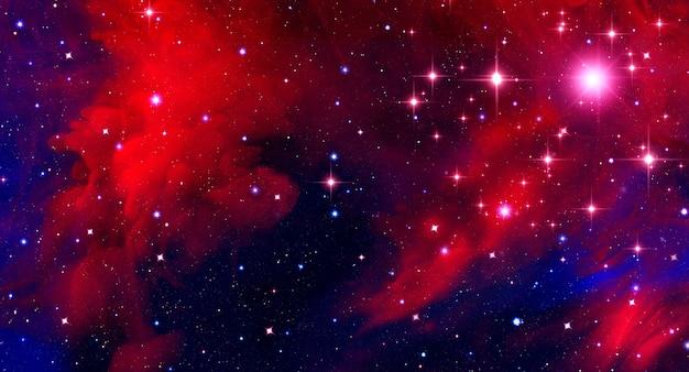 Abstrakter astronomiehintergrund mit rotem nebelfleck und leuchtenden sternen