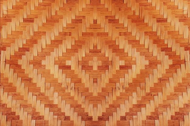 Abstrakter bambus gesponnene musterbeschaffenheit für hintergrund. detail der wand des landhauses aus bambus