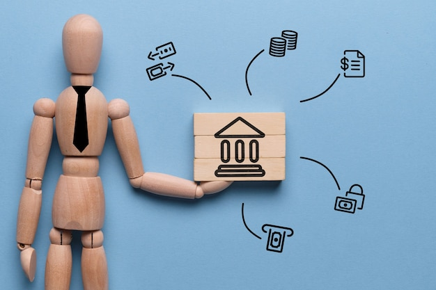 Abstrakter berater mit bankprodukten und -dienstleistungen als konzept.