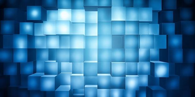 Abstrakter betriebswirtschaftlicher hintergrund mit blau leuchtenden quadraten im vollbildmodus