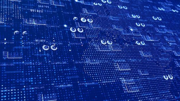 Abstrakter bewegungshintergrund der hud- und textelemente infographic digitalen daten für technologie und futuristisches konzept